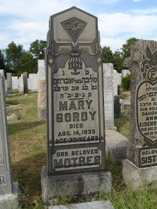 Gravestone of Mary Gordy